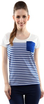 Miss Chase Casual Short Sleeve Striped Women's Top