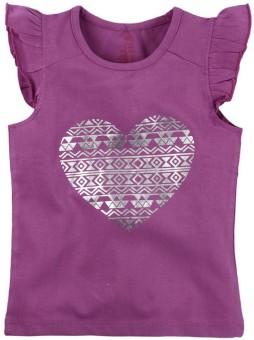 Oye Casual Short Sleeve Printed Girl's Pink Top