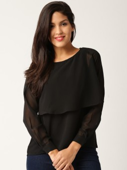 Dressberry Casual Full Sleeve Solid Women's Black Top
