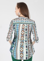 Kraus Casual Roll-up Sleeve Printed Women's Top