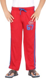 Greenwich Solid Boy's Red Track Pants