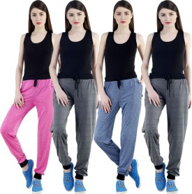 Dee Mannequin Self Design Women's Dark Blue, Grey, Grey, Pink Track Pants