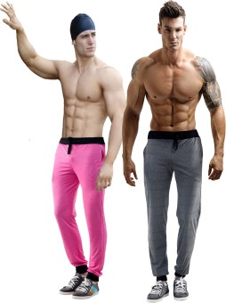 Billu Oye Solid Men's Grey, Pink Track Pants