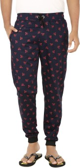 Fever Stylish Appeal Printed Men's Dark Blue, Pink Track Pants