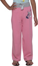 Menthol Solid, Printed Girl's Pink Track Pants