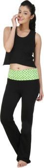 Nite Flite Lime Green Print Foldover Yoga Pants Printed Women's Track Pants
