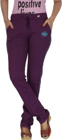 Smart Lady Solid Women's Purple Track Pants