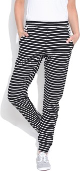 Silly People Striped Women's Black Track Pants
