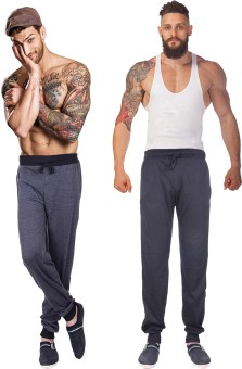 Billu Oye Solid Men's Grey, Black Track Pants