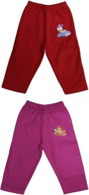 Bodycare Self Design Baby Girl's Purple, Maroon Track Pants