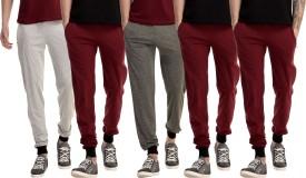 Gaushi Solid Men's Grey, Grey, Maroon, Maroon, Maroon Track Pants