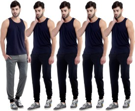 Dee Mannequin Self Design Men's Grey, Black, Black, Black, Black Track Pants