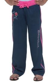 Menthol Solid, Printed Girl's Dark Blue Track Pants