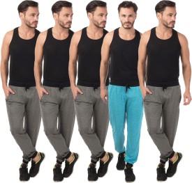 Meebaw Self Design Men's Grey, Grey, Grey, Grey, Blue Track Pants