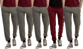 Gaushi Solid Men's Grey, Grey, Grey, Grey, Maroon Track Pants