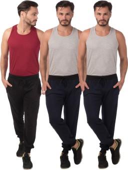 Meebaw Self Design Men's Black, Dark Blue, Dark Blue Track Pants