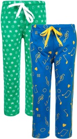 Sweet Angel Solid Girl's Green, Blue Track Pants