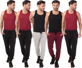 Meebaw Self Design Men's Grey, Black, Black, Black, Maroon Track Pants