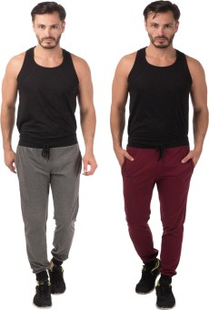 Meebaw Self Design Men's Grey, Maroon Track Pants