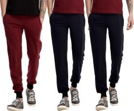 Gaushi Solid Men's Maroon, Dark Blue, Dark Blue Track Pants