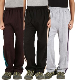 Meril Printed Girl's Brown, Grey, Black Track Pants