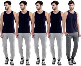 Dee Mannequin Self Design Men's Grey, Grey, Grey, Grey, Grey Track Pants
