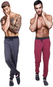 Billu Oye Solid Men's Grey, Maroon Track Pants