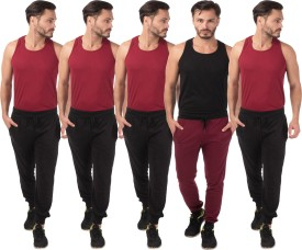 Meebaw Self Design Men's Black, Black, Black, Black, Maroon Track Pants