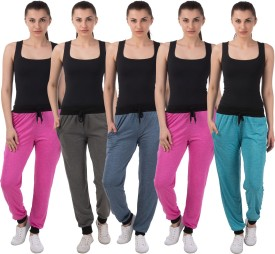 Meebaw Self Design Women's Dark Blue, Grey, Pink, Pink, Blue Track Pants
