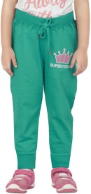 Superyoung Solid Girl's Green Track Pants