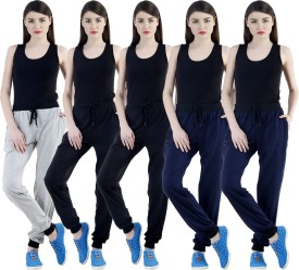 Dee Mannequin Self Design Women's Grey, Black, Black, Dark Blue, Dark Blue Track Pants