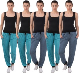 Meebaw Self Design Women's Dark Blue, Dark Blue, Blue, Blue, Blue Track Pants