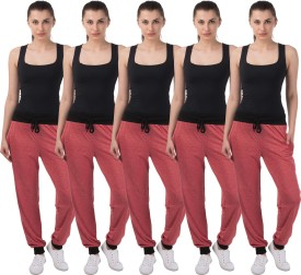 Meebaw Self Design Women's Red, Red, Red, Red, Red Track Pants