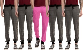 Gaushi Solid Men's Grey, Grey, Grey, Grey, Pink Track Pants