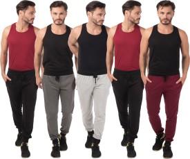 Meebaw Self Design Men's Grey, Grey, Black, Black, Maroon Track Pants