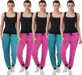 Meebaw Self Design Women's Pink, Pink, Pink, Blue, Blue Track Pants