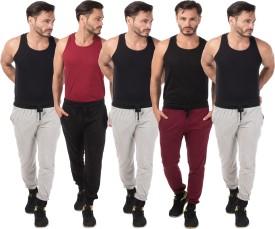 Meebaw Self Design Men's Grey, Grey, Grey, Black, Maroon Track Pants