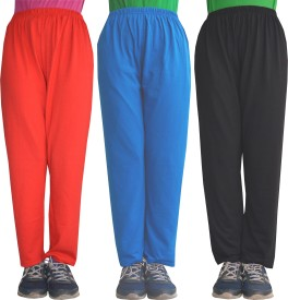 Shaun Solid Girl's Red, Light Blue, Black Track Pants