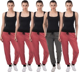 Meebaw Self Design Women's Red, Red, Red, Red, Grey Track Pants