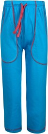 Jazzup Solid Girl's Blue Track Pants