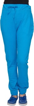 Amari West Blue Solid Solid Women's Track Pants