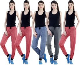 Dee Mannequin Self Design Women's Red, Red, Red, Dark Blue, Grey Track Pants