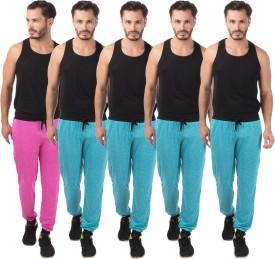 Meebaw Self Design Men's Pink, Blue, Blue, Blue, Blue Track Pants
