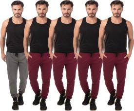 Meebaw Self Design Men's Grey, Maroon, Maroon, Maroon, Maroon Track Pants