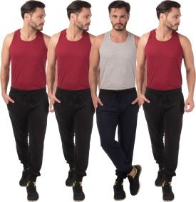 Meebaw Self Design Men's Black, Black, Black, Dark Blue Track Pants