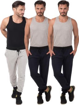 Meebaw Self Design Men's Grey, Dark Blue, Dark Blue Track Pants