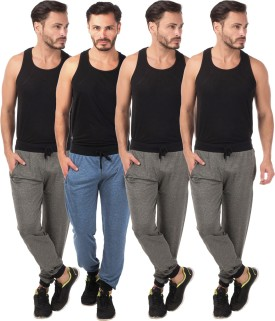 Meebaw Self Design Men's Dark Blue, Grey, Grey, Grey Track Pants