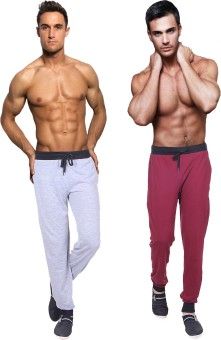 Billu Oye Solid Men's Grey, Maroon Track Pants