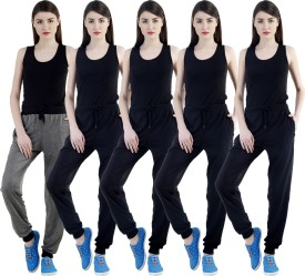 Dee Mannequin Self Design Women's Grey, Black, Black, Black, Black Track Pants