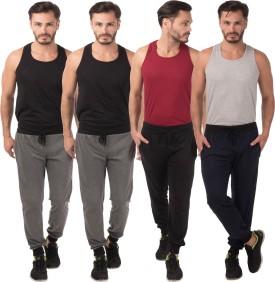 Meebaw Self Design Men's Grey, Grey, Black, Dark Blue Track Pants